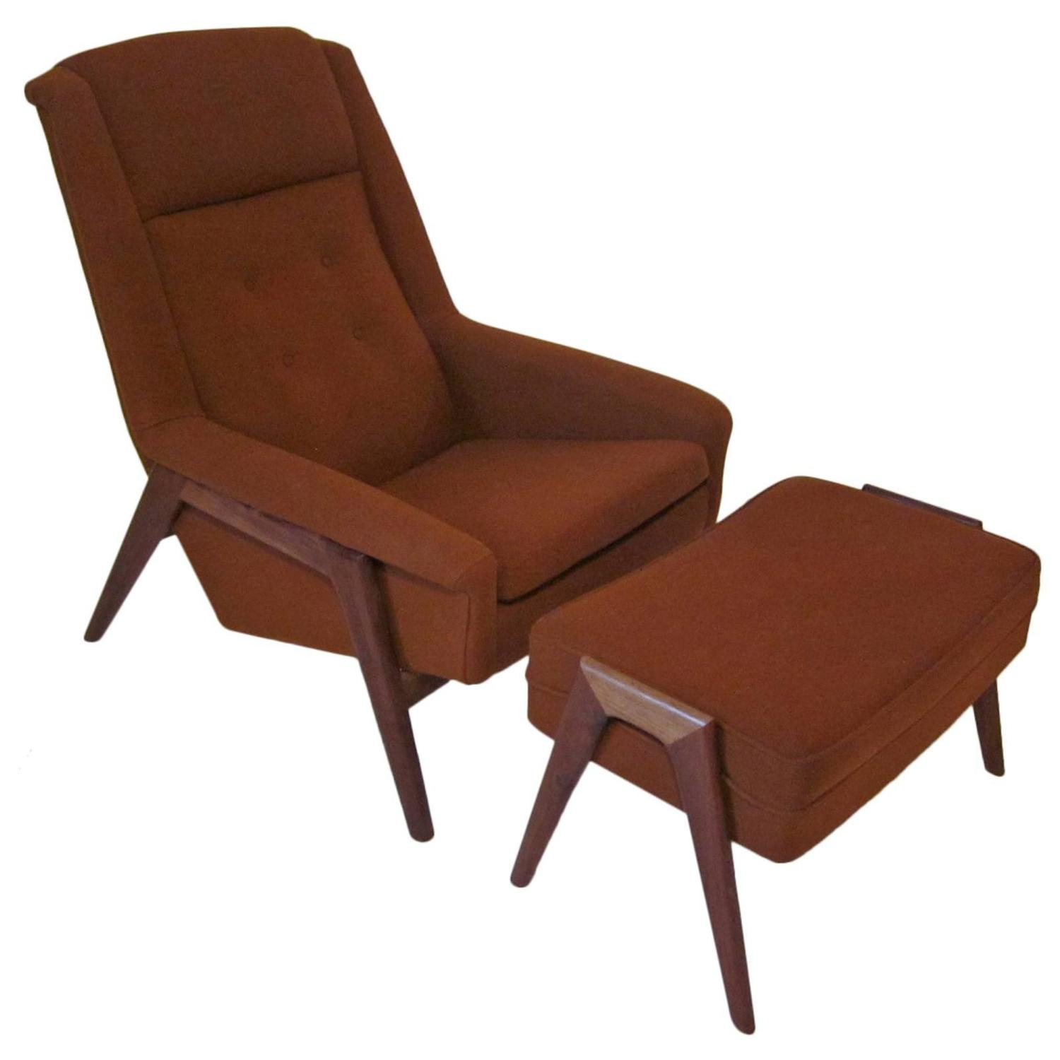 Folke Ohlsson Danish Lounge Chair And Ottoman For Dux At