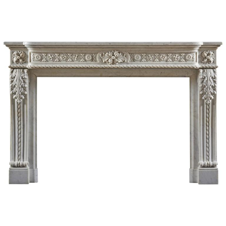 Well Carved Antique 19th Century Louis XVI Style Fireplace Mantel For Sale