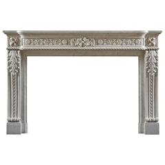 Well Carved Antique 19th Century Louis XVI Style Fireplace Mantel
