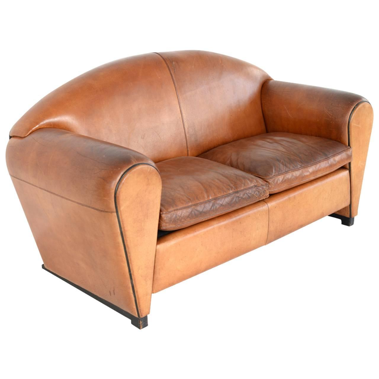 art deco cognac leather sofa at 1stdibs. Black Bedroom Furniture Sets. Home Design Ideas