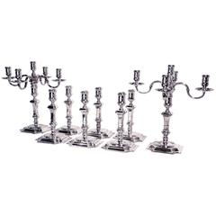 A Superb suite of George II style  Hall Marked  Silver Candlesticks