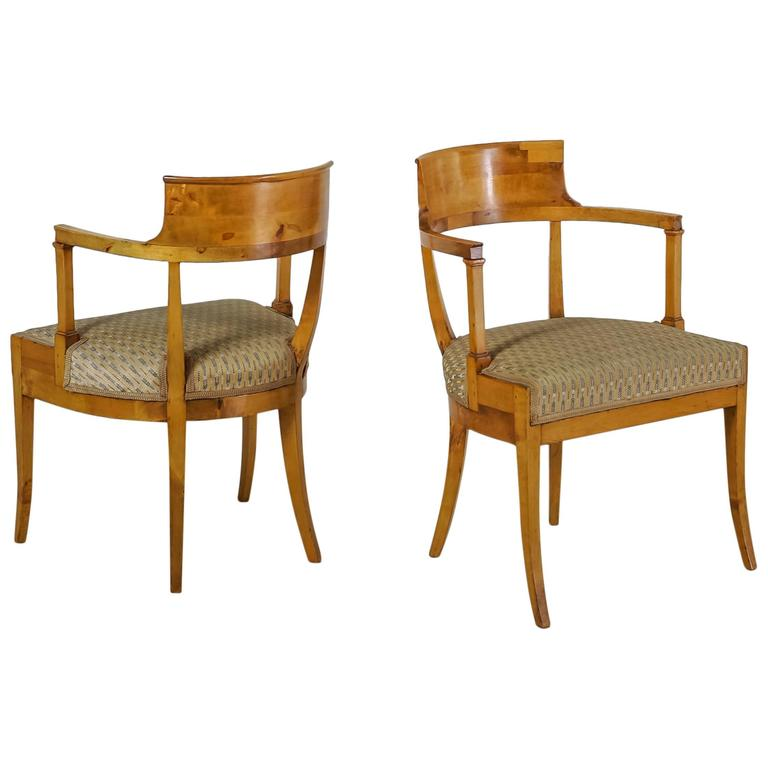Pair of Alfred Grenander Attributed Birch Armchairs, Sweden, Late 19th Century For Sale