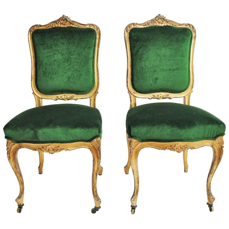 1950s Italian Gilt and Emerald Silk Velvet Chairs at 1stdibs