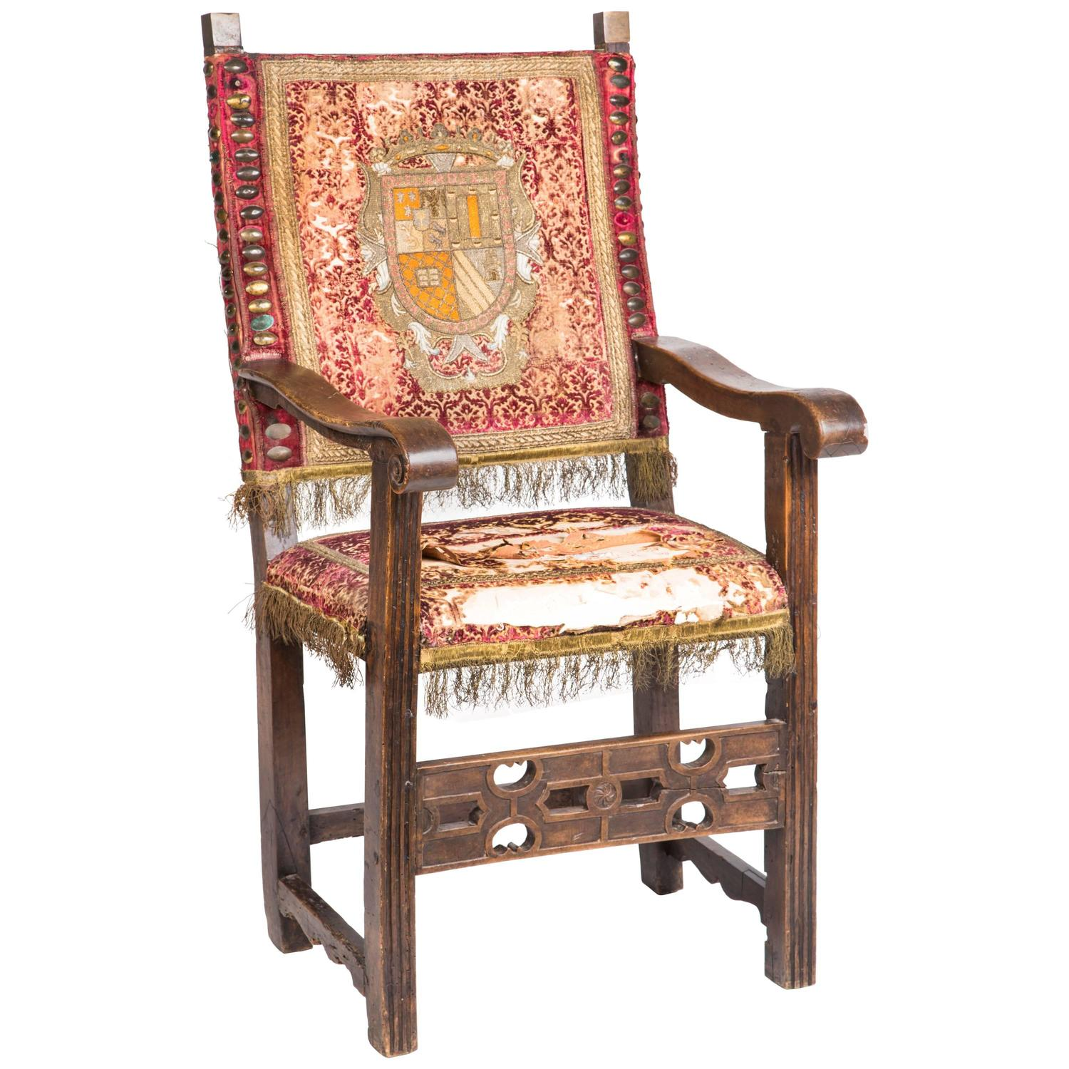 Spanish baroque walnut armchair for sale at 1stdibs for Spanish baroque furniture