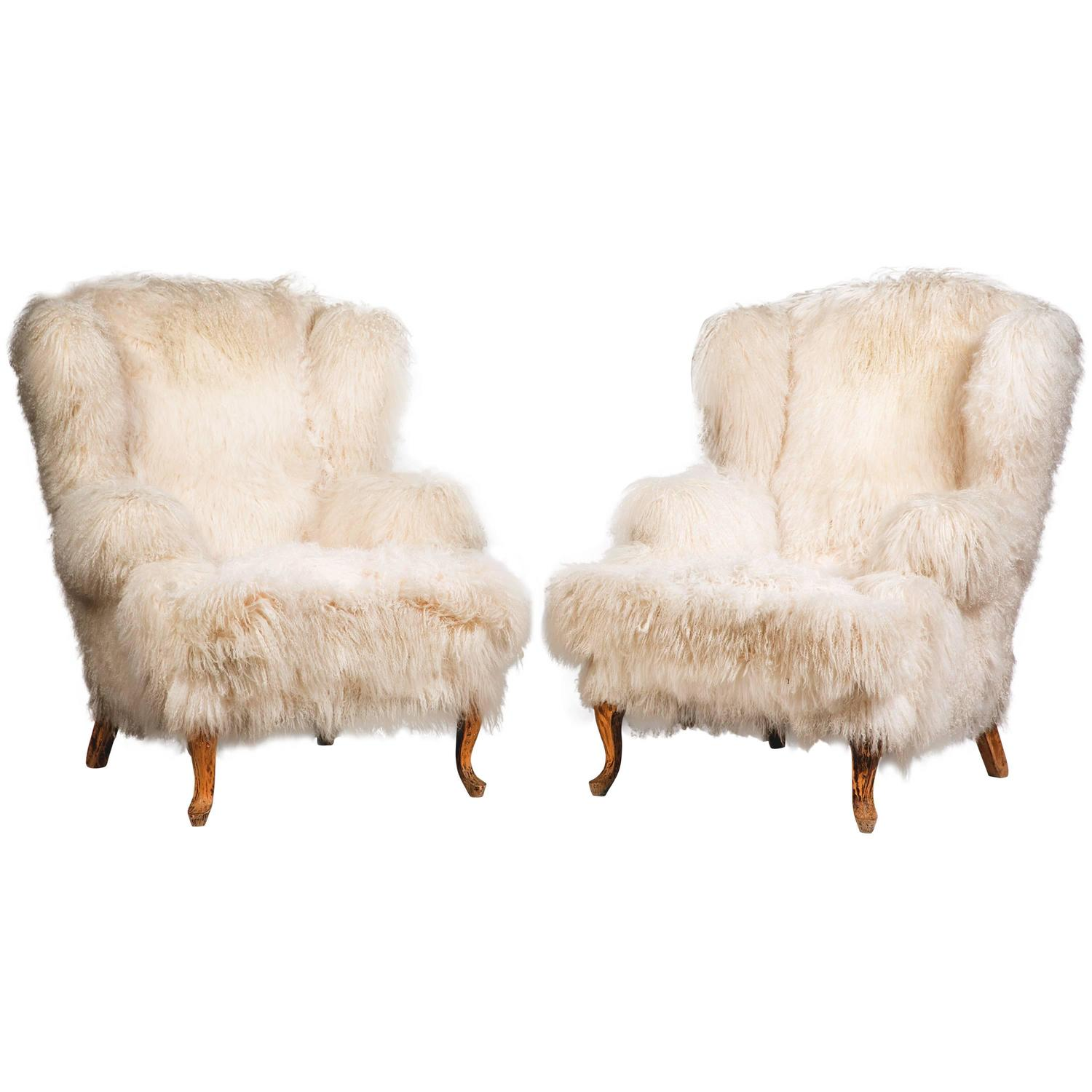 Mongolian Lamb Wingback Chairs For Sale At 1stdibs