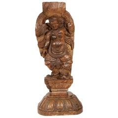 Wooden Indian Antique Sculpture, Suitable as Lamp Base