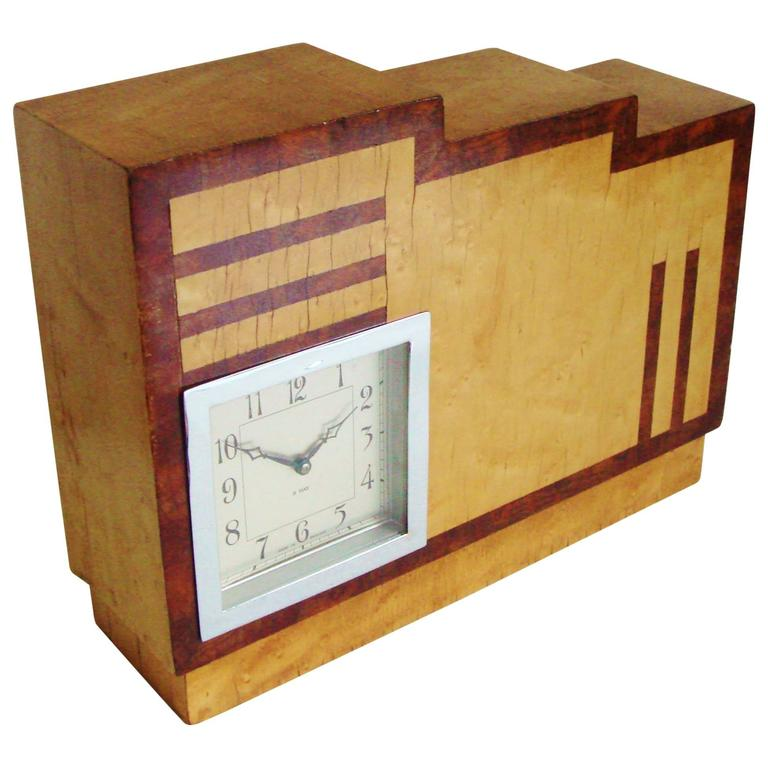 English Art Deco, Chrome, Wood and Polychromed Veneer Ziggurat Mantle Clock For Sale