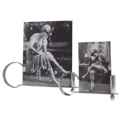 Set of Two English Art Deco Chrome Asymmetrical and Reversible Desk Photo Frames