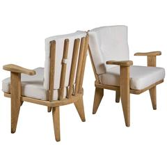 Pair of small armchairs by GUILLERME & CHAMBRON in clear soaped oak ca.1960
