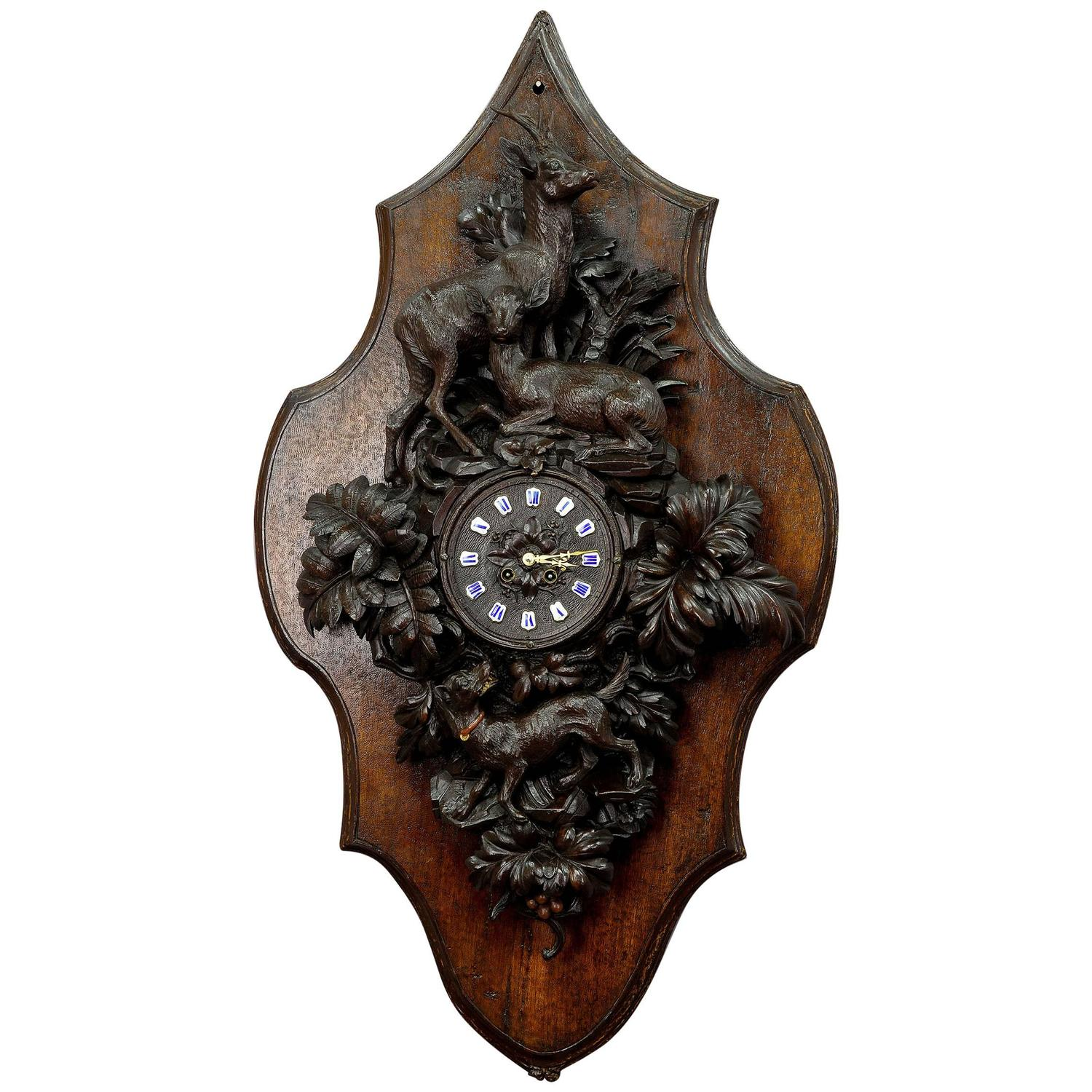 Black forest wooden carved wall clock with deer and