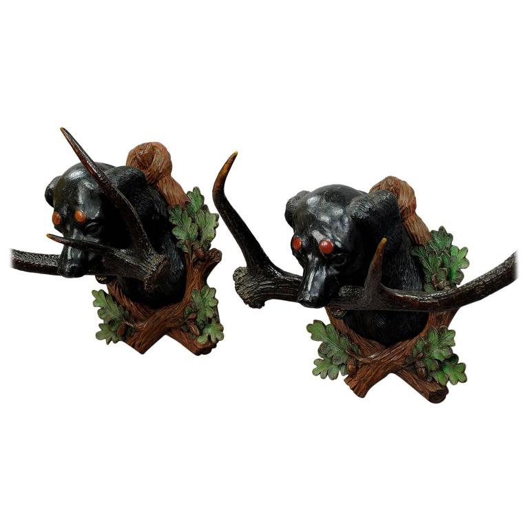 Pair of Antique Carved Wood Staghound Heads by Rudolph Heissl