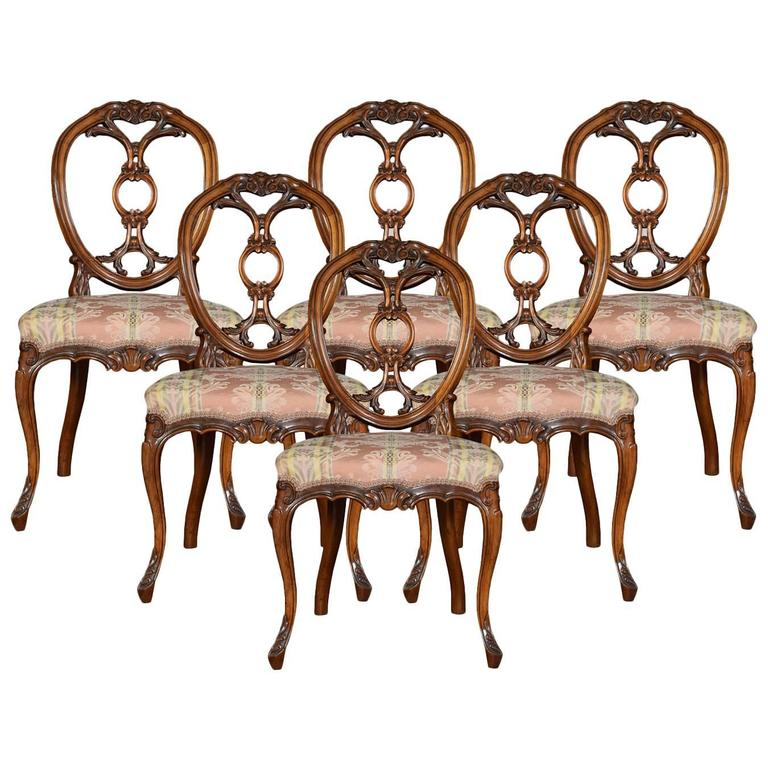 set of six victorian walnut dining room chairs for sale at 1stdibs