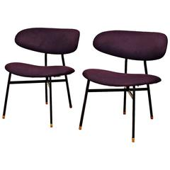 1950s Pair of Low Chairs, Iron, Brass, Violet Felt Upholstery, Italy