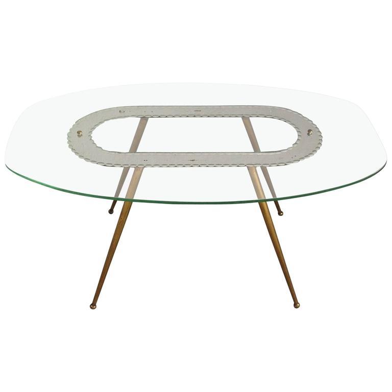 1950s Glass and Brass Coffee Table Fontana Arte Style
