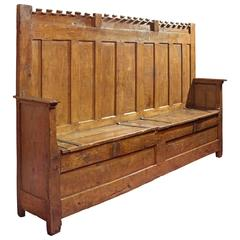 15th Century French Gothic Highback Bench Known as an Archebanc with Hasp Locks