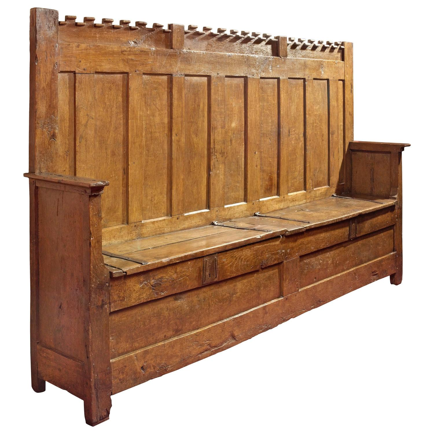 15th century french gothic highback bench known as an archebanc with hasp locks for sale at 1stdibs