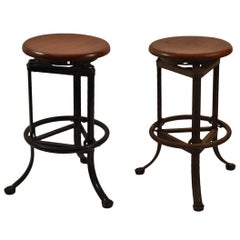 Industrial Stools Steel Base with Wood Seats