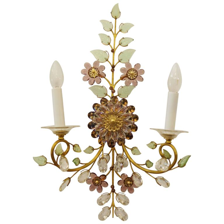 Austrian Crystal Rock Flower Sconce