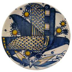 1960s, Franco Rufinelli Hand-Painted Pottery Charger