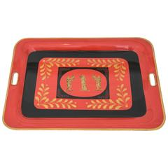 Vintage Italian Painted 'Tole' Tray in the Manner of Fornasetti