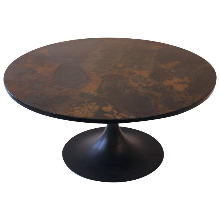 Ligne Roset coffee table iron and slate circa 1970 France at
