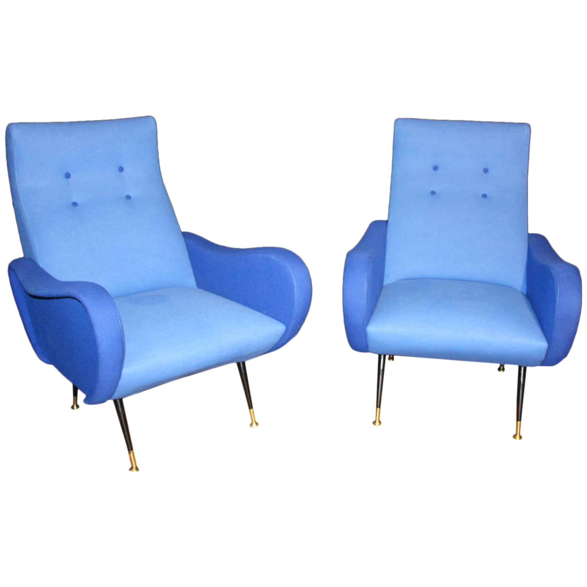 Italian Pair of Blue Mid-Century Chairs In The Style Of Zanuso