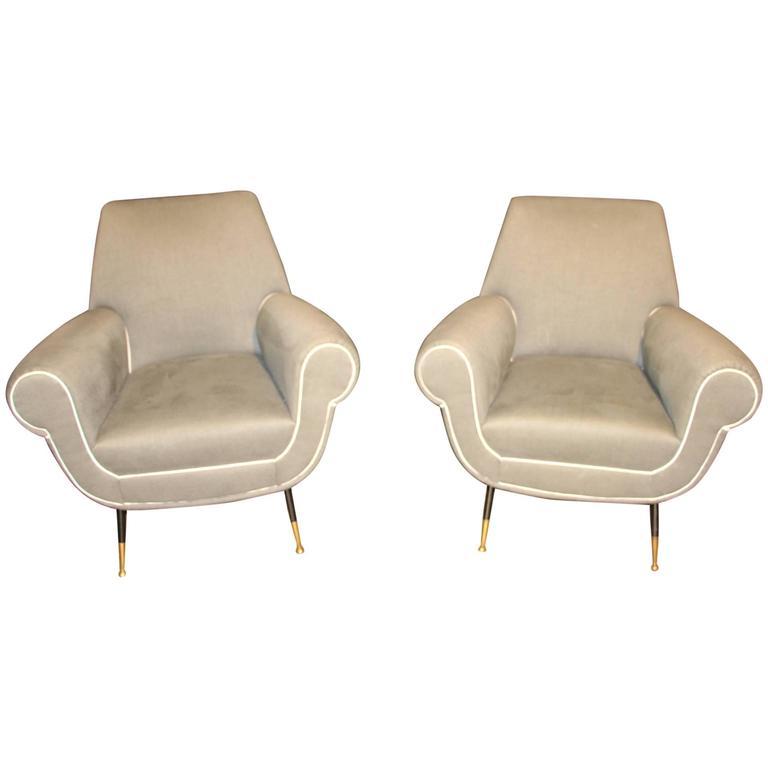 Italian Mid-Century Grey Pair of Chairs in the Style of Gigi Radice