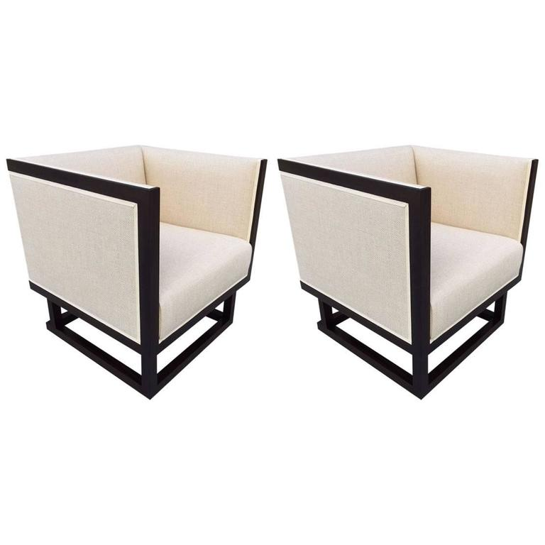 Pair of Cube Lounge Chairs by Josef Hoffmann 2