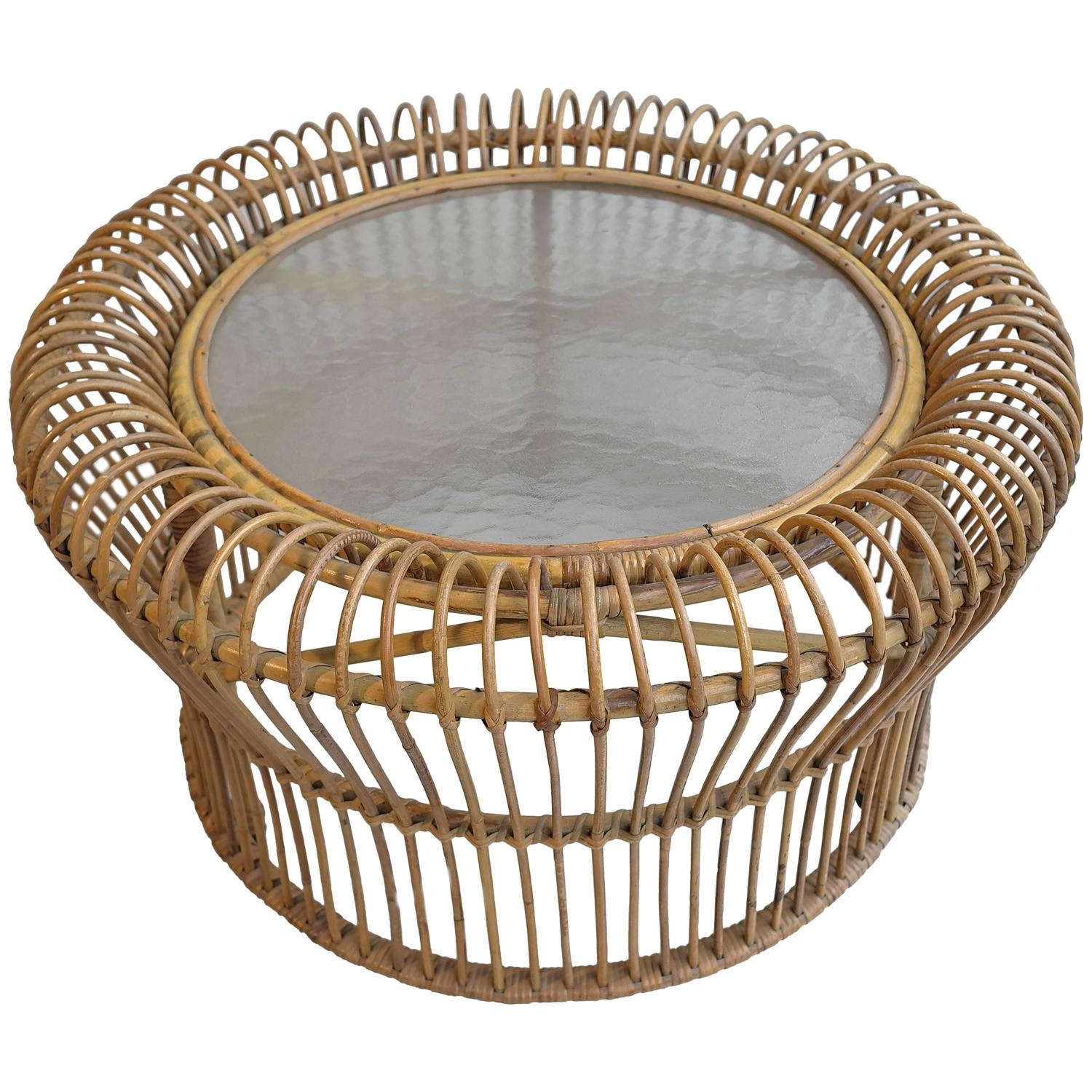 Italian Rattan Coffee Table In Style Of Franco Albini For At 1stdibs