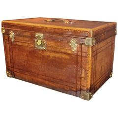 1930's French Brown Leather Rectangular Hat Trunk