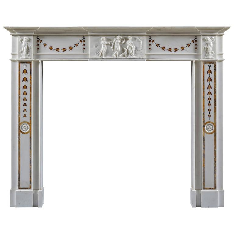 Antique Fireplace Mantel of Neoclassical Style