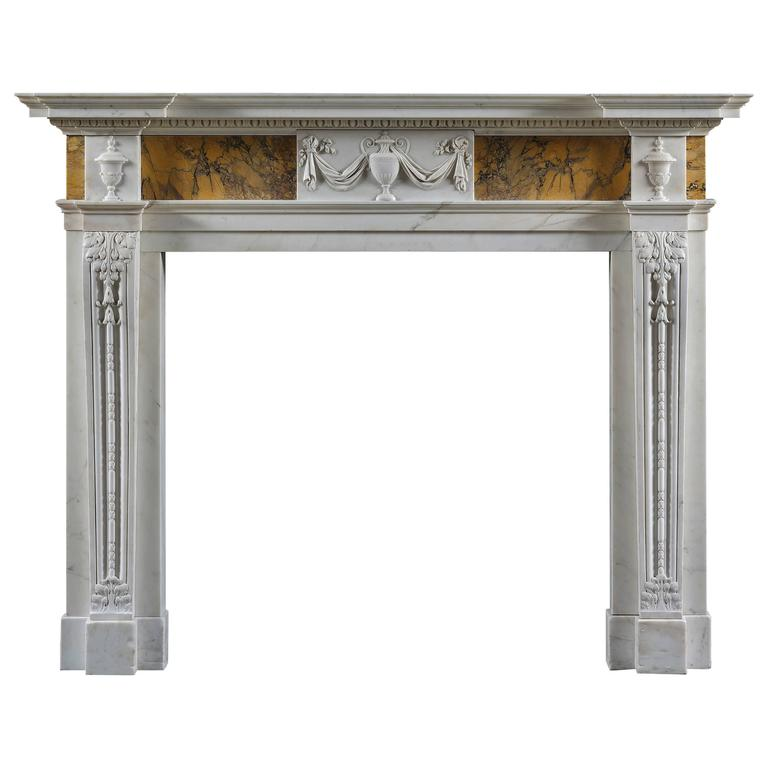 Antique Neoclassical Fireplace Mantel in Siena and Statuary Marbles