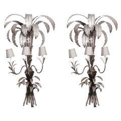 Pair of Hollywood Regency White Metal Sconces