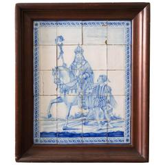 19th Century Dutch Delft Tile of Saint Nicholas and Zwarte Piet