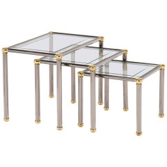 Vintage Set of Gunmetal and Brass Nesting Tables