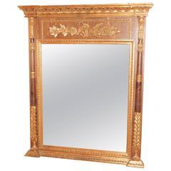 Neoclassic Style Parcel-Gilt Walnut Mirror