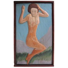 Carved and Painted Nude Wood Relief