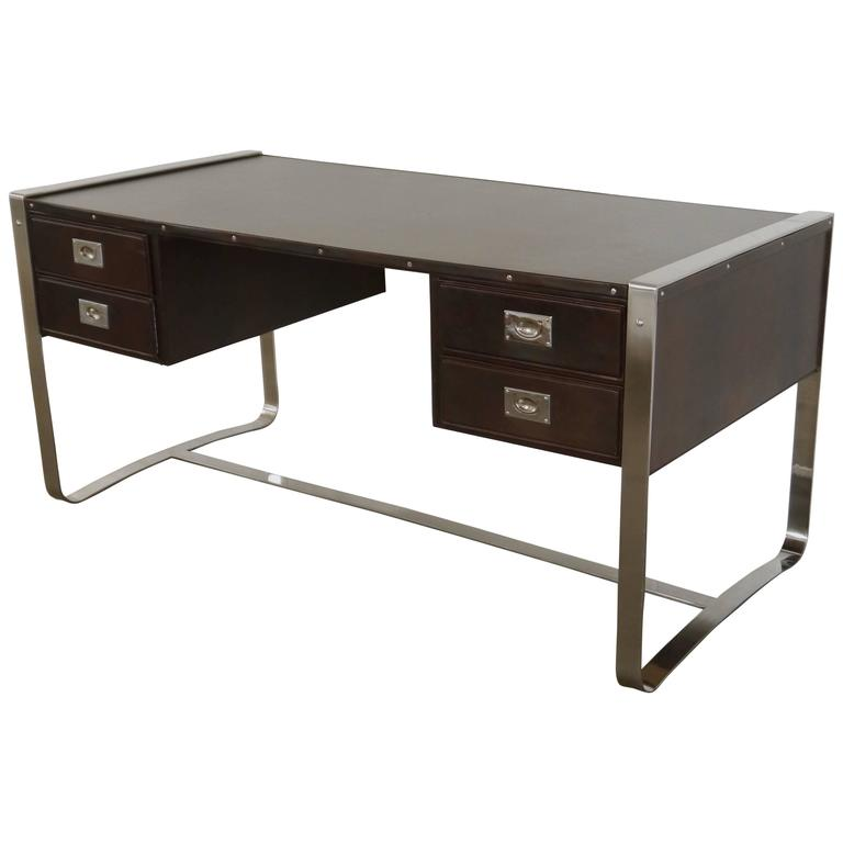 Desk in Leather and Steel by Jacques Adnet