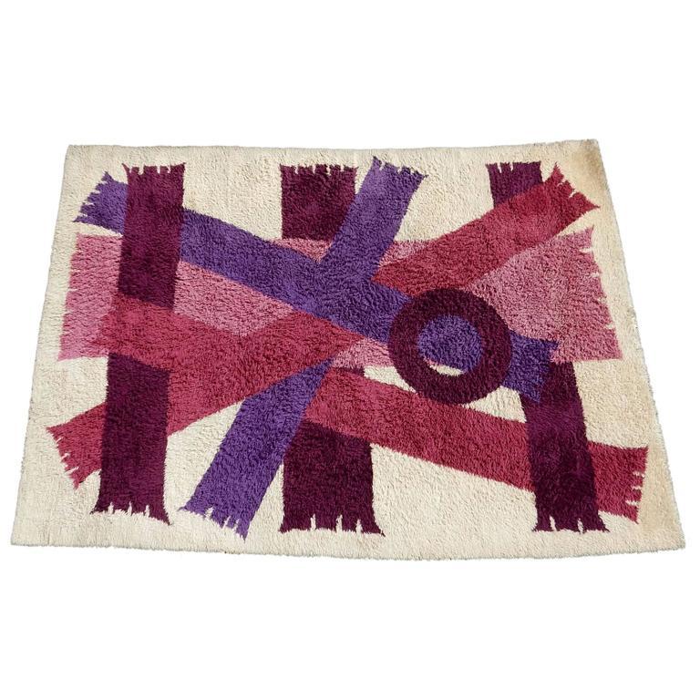 Modern Scandinavian Rug: Midcentury Danish Modern Scandinavian Ege Rya Wool Rug For