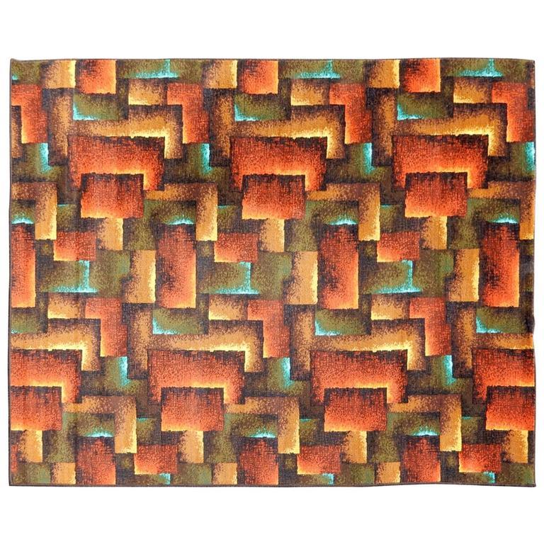 Art Deco Era Modernist Sculpture Design Wool Rug