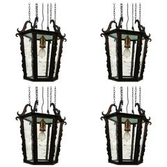Set of Four Large Expressionist Lanterns by Rudolf Lempp