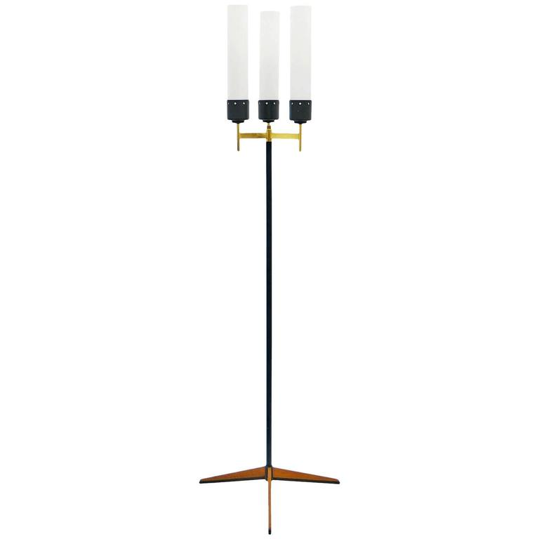 Italian Tripod Floor Lamp with Brass and Teak Details, 1950s