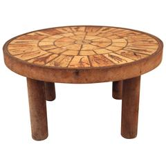 Roger Capron, little coffee table, ceramic and wood, circa 1970, France.