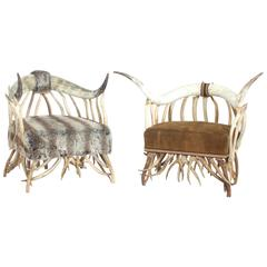 Pair of Horn and Antler Armchairs