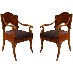 Pair of Early 19th Century Russian Neoclassical Mahogany Armchairs