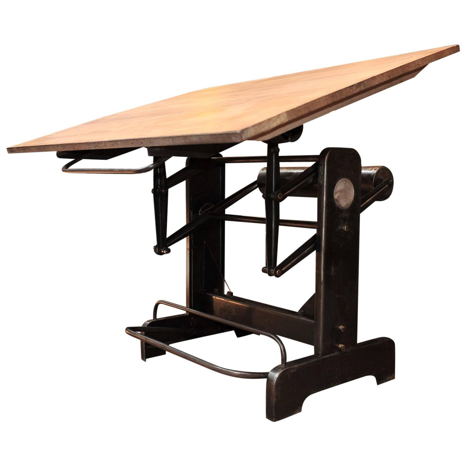 Drafting table dimensions - Industrial Adjustable French Architect S Drafting Table 1950s At 1stdibs