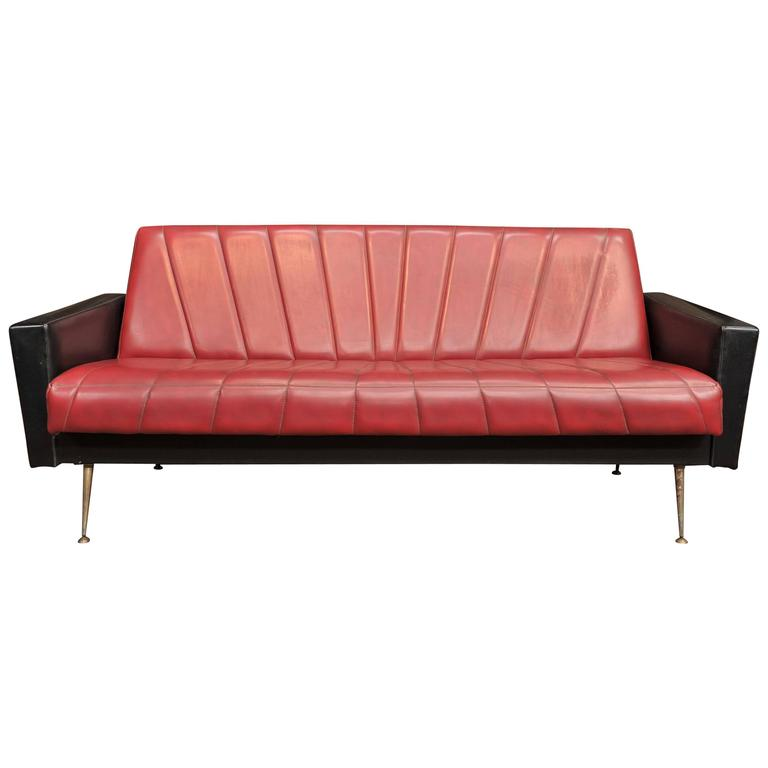 french vintage convertible sofa 1960s at 1stdibs. Black Bedroom Furniture Sets. Home Design Ideas