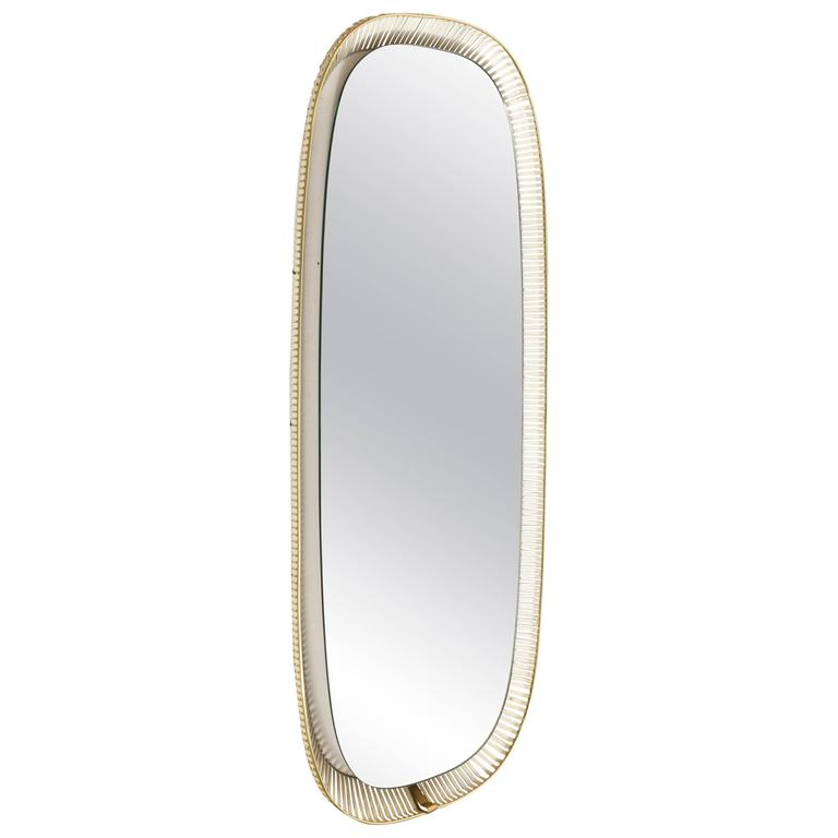 German Design Metal-Brass Illuminated Wall Mirror, 1960s