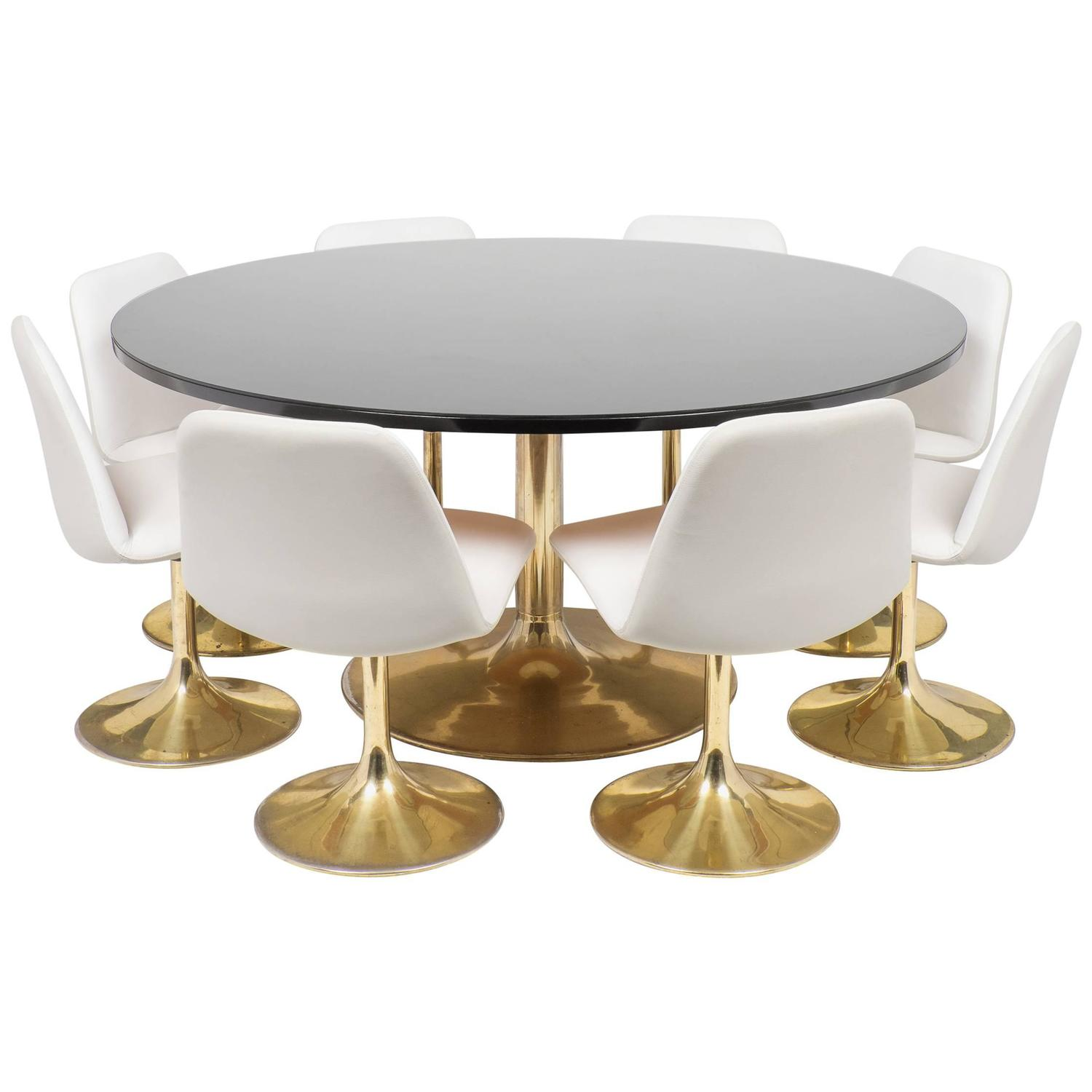 Tulip table and chair dining set at 1stdibs for Tulip dining table