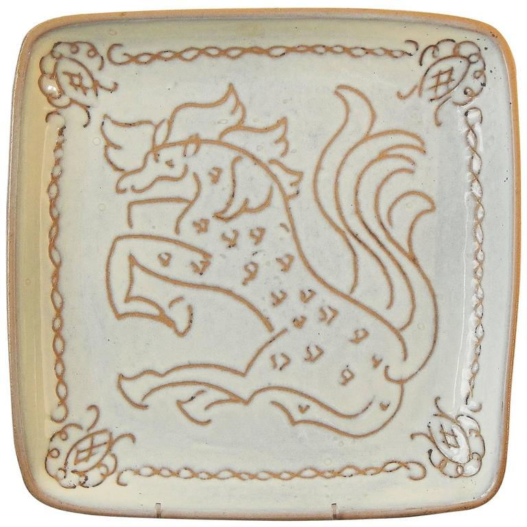 """""""Horse with Flying Tail,"""" Sgraffito Masterpiece by Glidden Parker, 1940s"""